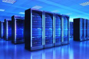 Data Center with Racks of computing equipment